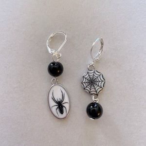 Asymmetrical Spider and Web Earrings, NWT and Handmade